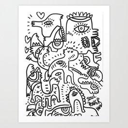 Soul Power Black and White Graffiti Street Art  Art Print