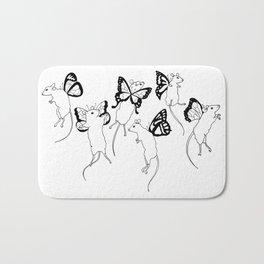 Black Ink Mouse Fairies Art Print Bath Mat