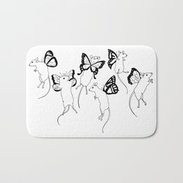Black Ink Mouse Fairies Art Print Bath Mat