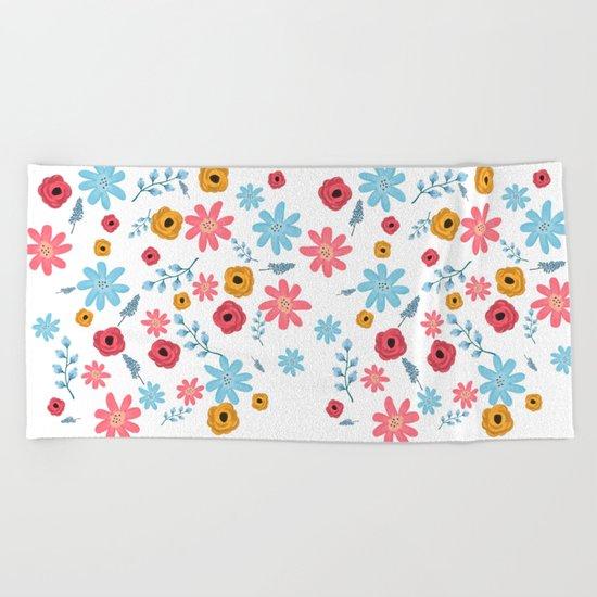 Colors Flowers 3 Beach Towel
