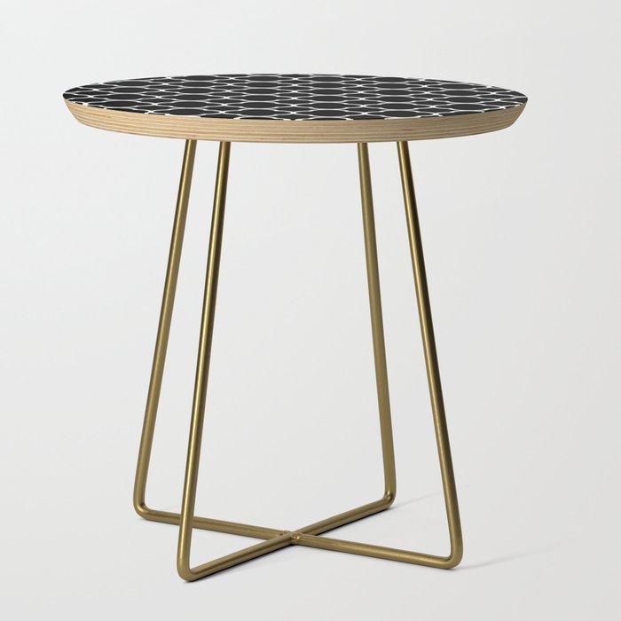 Black White Moroccan Quatrefoil Design Side Table By
