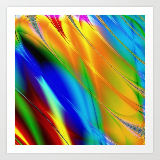 Digital art fractal colors Art Print