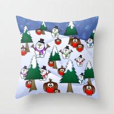 Rocking Robin In A Winter Wonderland. Throw Pillow