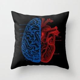 Heart and Brain Throw Pillow