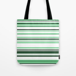 White & green Linies Tote Bag