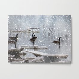 snow on the river Metal Print