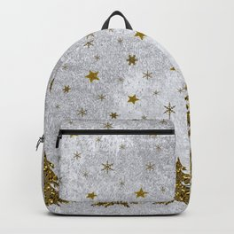 Sparkly Christmas tree, stars, moons on abstract paper Backpack