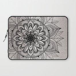 Elegant faux silver glitter black henna mandala Laptop Sleeve