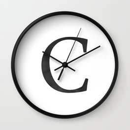 Letter C Initial Monogram Black and White Wall Clock