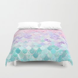 Cute Mermaid Pattern, Light Pink, Purple, Teal Duvet Cover