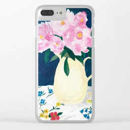 Peonies at Spring's End Clear iPhone Case