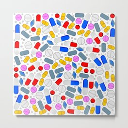 Pills Isolated On White Background Metal Print