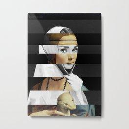 Leonardo da Vinci's Lady with a Ermine & Audrey Hepburn Metal Print