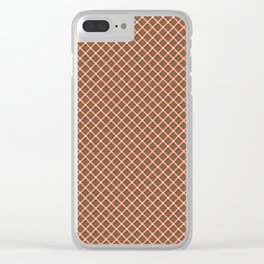 Christmas Holly Green and Red Diagonal Tartan with Crossed White Lines Clear iPhone Case