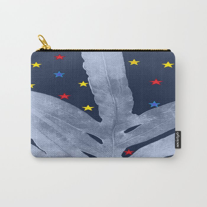 Green Fern Silver Blue with Starry Night, Stars Carry-All Pouch