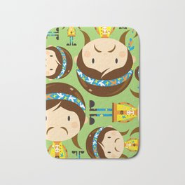 Cartoon Sixties Flower Power Hippie Bath Mat