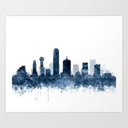 Dallas Skyline Blue Watercolor by Zouzounio Art Art Print