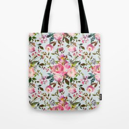 Elegant girly pink coral lilac green watercolor floral Tote Bag