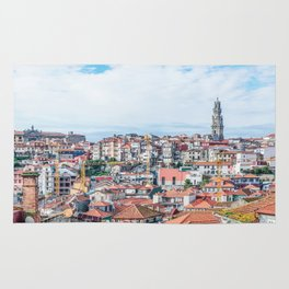 Porto's skyline panorama on bright day, with Clérigos Tower and the Portuguese Centre of Photography Rug