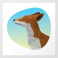 low poly Art Prints featuring Low-Poly fox by fortyfive