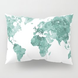 World map in watercolor green Pillow Sham
