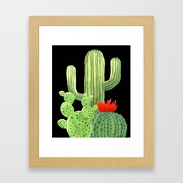 Perfect Cactus Bunch on Black Framed Art Print