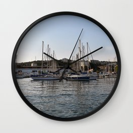 Dock your boat in downtown Martigues France Wall Clock