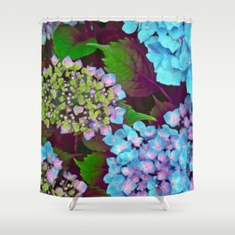 Hydrangea Pink and Blue Shower Curtain