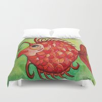 amy hamilton Duvet Covers featuring AMY by Caribbean Critters Co.