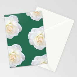 Cream Rose Polka Dot Emerald Stationery Cards