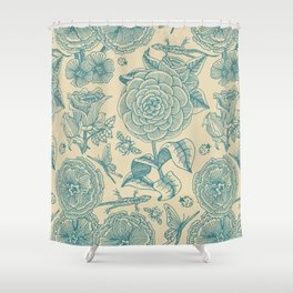 Garden Bliss - in teal & cream Shower Curtain
