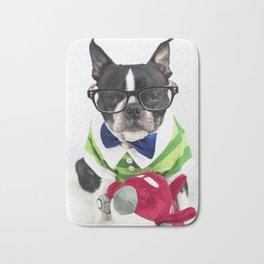 Boston Terrier Nerd Bath Mat