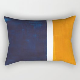 Navy Blue Yellow Ochre Abstract Minimalist Rothko Colorful Mid Century Color Block Pattern Rectangular Pillow