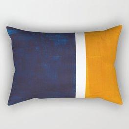 Navy Blue Yellow Ochre Abstract Minimalist Rothko Colorful Mid Century Color Block Pattern Rectangular Pillow