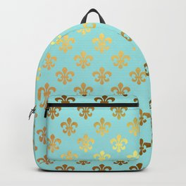Royal gold ornaments on aqua turquoise background Backpack