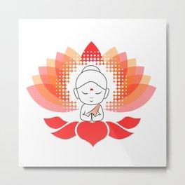 Cute Buddha on a sacred lotus Metal Print