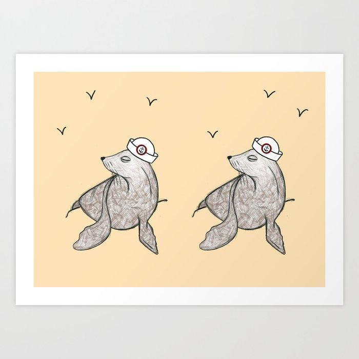 Seals Ahoy! Art Print