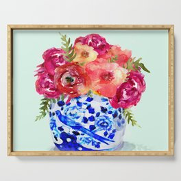 Peonies in Chinoiserie Ginger Jar Serving Tray
