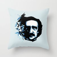 edgar allan poe Throw Pillows featuring Edgar Allan Poe Crows by Ludwig Van Bacon
