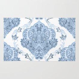 Vintage Blue and White Damask Pattern Rug