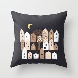 Houses Under a Starry Night Throw Pillow