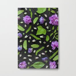 Leaves and flowers pattern (17) Metal Print