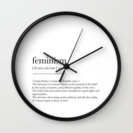 Feminism, dictionary definition Wall Clock
