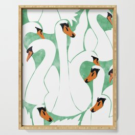 Swans, Colorful Wildlife Birds Painting, Jungle Pond Forest Animals Wild Illustration Serving Tray
