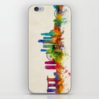singapore iPhone & iPod Skins featuring Singapore Skyline by artPause
