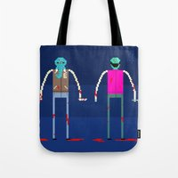 hotline miami Tote Bags featuring Hotline Miami: Rufus by Paul Scott (Dracula is Still a Threat)