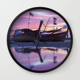Mysterious Long Tail Boats  Wall Clock