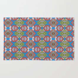 Wilma - Symmetrical Abstract Art in Blue, Orange and Green Rug