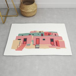 Taos Pueblo Adobe Architecture Print - Pink & Green Rug