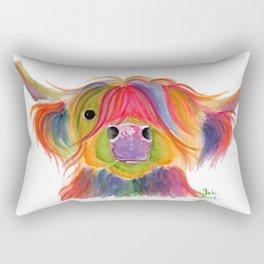 Scottish Highland Cow ' PENELOPE PLUM ' by Shirley MacArthur Rectangular Pillow